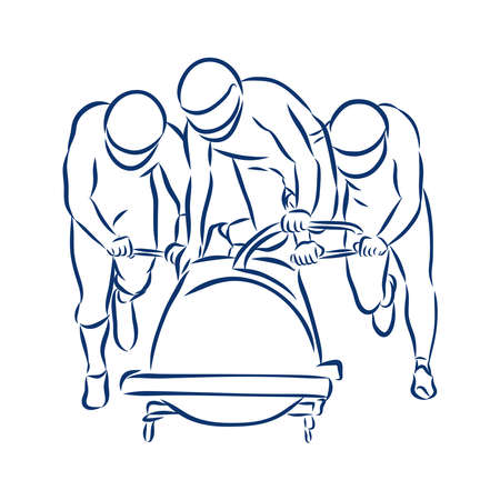 Illustration shows a bobsledder disperse the car. Bobsleigh. Winter sport