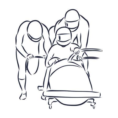 Illustration shows a bobsledder disperse the car. Bobsleigh. Winter sport