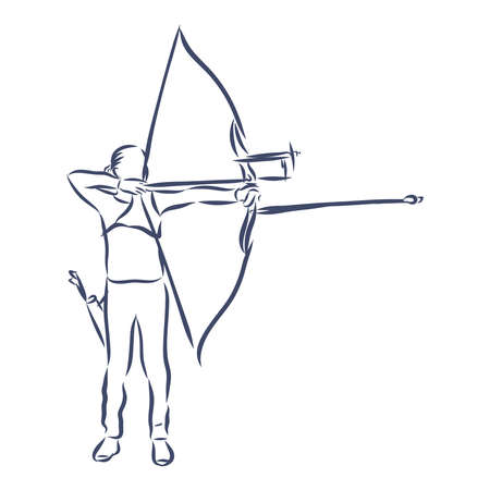 illustration doodle hand drawn sketch of female sport archery isolated on white background.