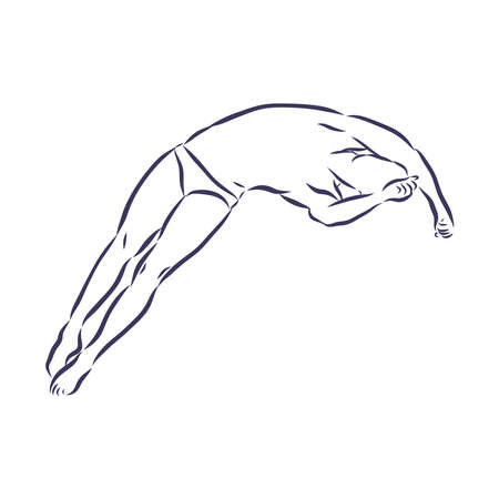 jumping into the water Illustration