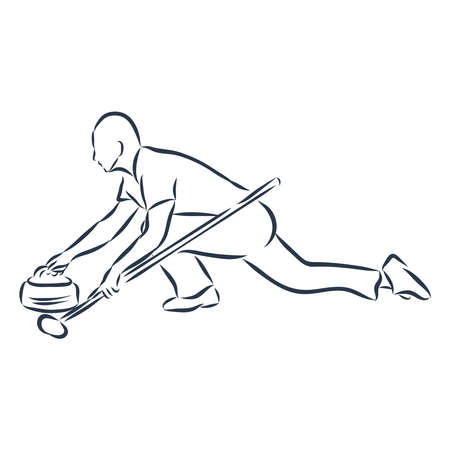 Curling player illustration on white background.