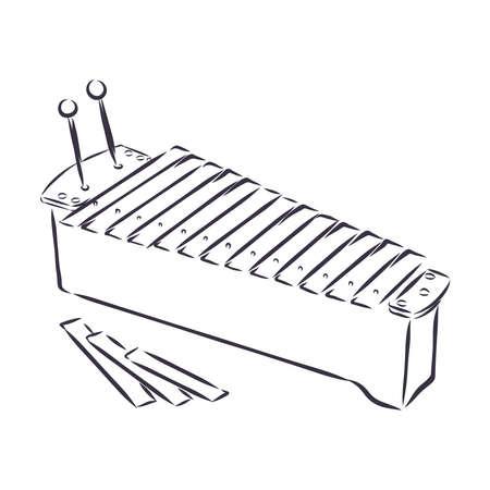 hand drawn, sketch, cartoon illustration of xylophone