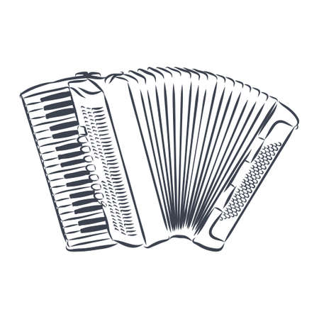 Accordion Musical instrument doodle style sketch illustration hand drawn