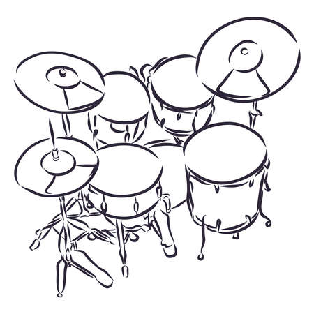 Stock realistic illustration of a drum kit eps with snare drum bass in cartoon and sketch style Ilustración de vector