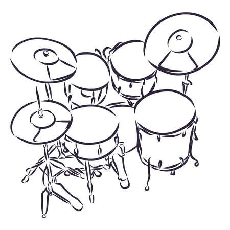 Realistische Darstellung eines Schlagzeug-Eps mit Snare-Drum-Bass im Cartoon- und Skizzenstil Vektorgrafik