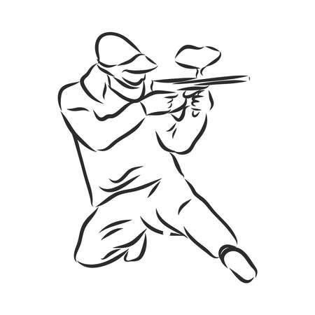 illustration of Paintball player. Illustration