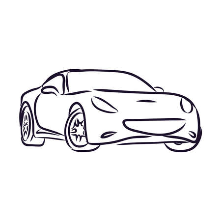 Hand drawn car.Vehicle sedan.The cartoon vehicle for the city transport.For the websites and mobile applications.Car sketch.Auto design drawing.Doodle sketch lines. Vectores