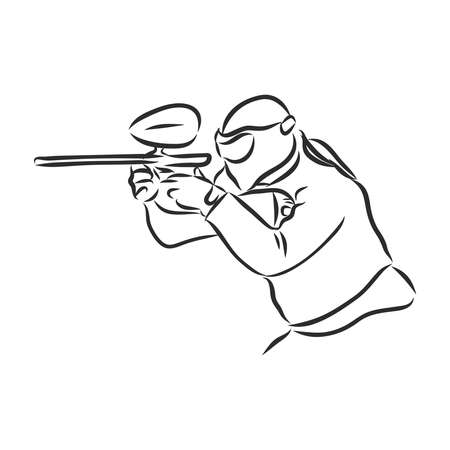 illustration of Paintball player. Extreme Sport background.