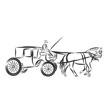 Hand Drawn Carriage Sketch Symbol isolated on white background.