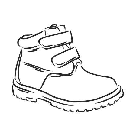 Hand drawn pair of kids shoes.