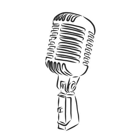 Retro microphone drawing on white background  イラスト・ベクター素材