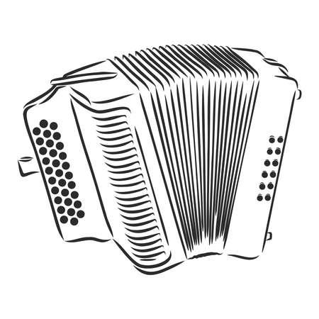Accordion Musical instrument doodle style sketch illustration hand drawn vector Ilustración de vector