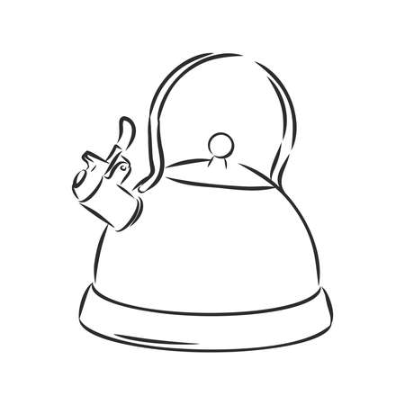 Kettle vector sketch icon isolated on background. Hand drawn Kettle icon. Kettle sketch icon for infographic, website or app. Vector Illustratie
