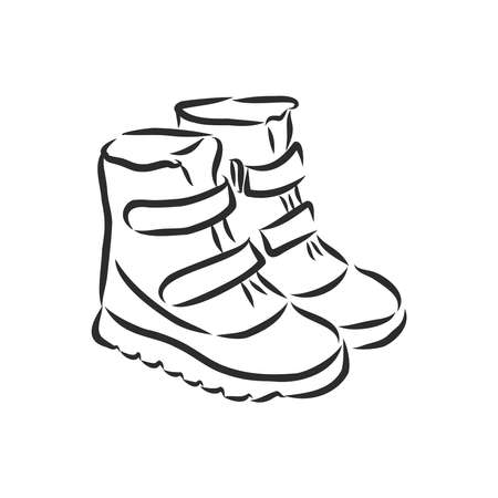 Sketch of children's boots. A pair of shoes isolated on white background. Vector illustration. Stock Illustratie