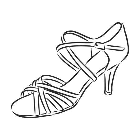 Elegant sketched woman's shoe for Argentine tango dancing. Background can be easily removed. Vector illustration. Illustration
