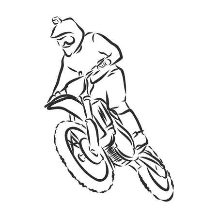 motocross motorbike hand drawn vector illustration Banque d'images - 143497327