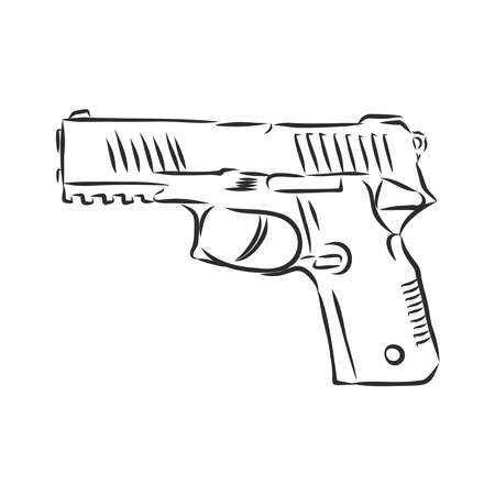 Hand drawn pistol isolated on white.
