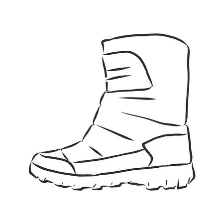 VECTOR Hand drawn illustration shoe sketch icon isolated on background 向量圖像