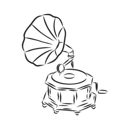 Vektorgrammophon auf weißem Hintergrund. Grammophon-Zeichen, Grammophon-Symbol.