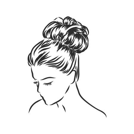 Woman with stylish classic bun with perfect eyebrow shaped and full. Illustration of business hairstyle with natural long hair. Hand-drawn idea for greeting card, poster, flyers, web, print for t-shir