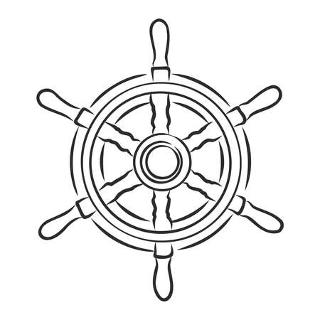 Ship Steering Wheel Hand Draw Sketch. Vector Illustration