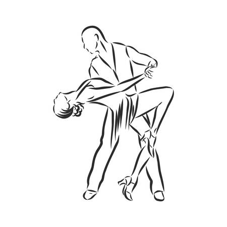 Latin dancing, couple dancing , vector, sketch on a white background