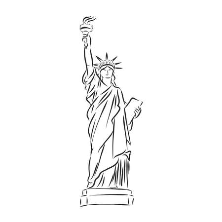 Statue of Liberty hand drawn vector llustration realistic sketch