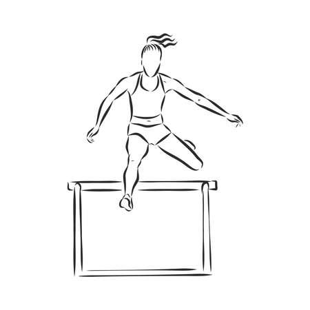 Ein Sprinter, der in einem Hürdenlauf über eine Hürde springt. Handgezeichnete Vektor-Illustration.