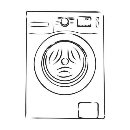 Washing machine. Hand drawn sketch illustration isolated on white background Stock Illustratie