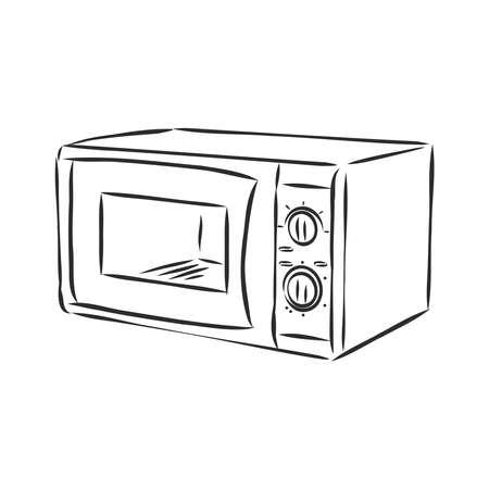 Mikrowelle Symbol Leitung. Bearbeitbares Linienskizzensymbol. Vektorillustration auf Lager.