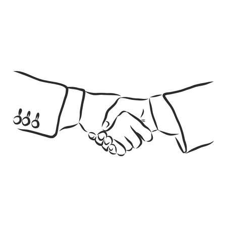 Handshake. Hand drawn sketch illustration isolated on white background