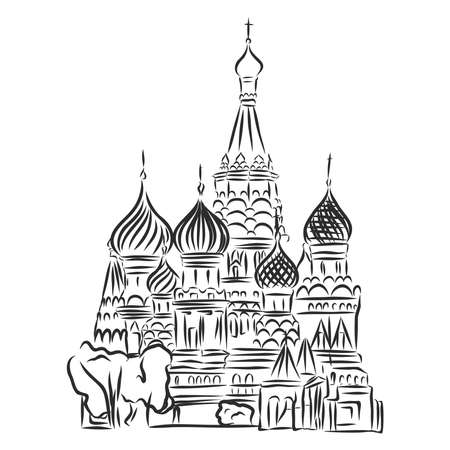 Moscow, sketch collection, St. Vasil cathedral on the Red Square