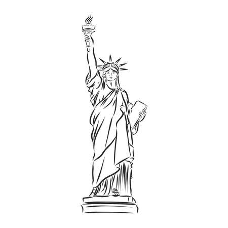 Statue of Liberty hand drawn vector llustration realistic
