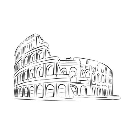 Coliseum in Rome hand drawn . vector illustration isolated. sketch stile