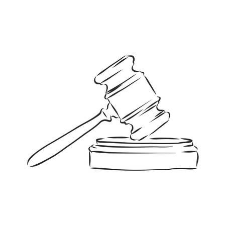 black and white line art, sketch hammer judge 向量圖像