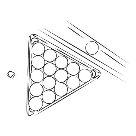 Billiards game, vector sketch illustration Illustration