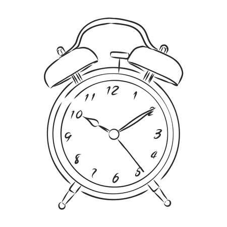 Alarm clock illustration, drawing, engraving, ink line art vector 向量圖像