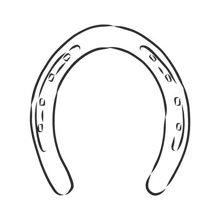 realistic horseshoe, vector sketch illustration