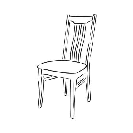 Vector Hand Drawn Sketch of wooden Chair stool.
