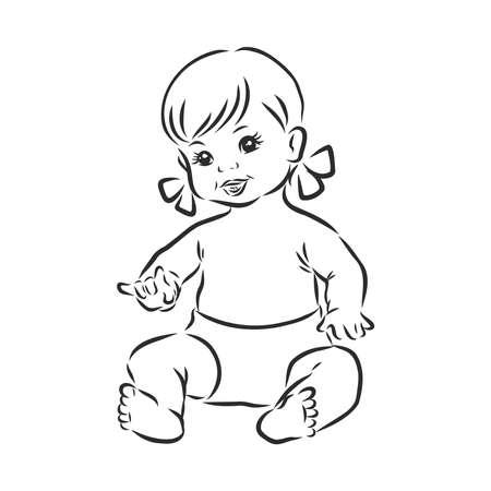 baby doll, vector sketch illustration Vector Illustration