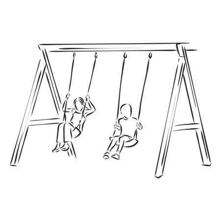 kid on a swing vector sketch illustration Vetores