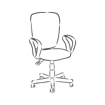 Office revolving chair with backrest and armrests, hand drawn. Black and white contour sketch on white background