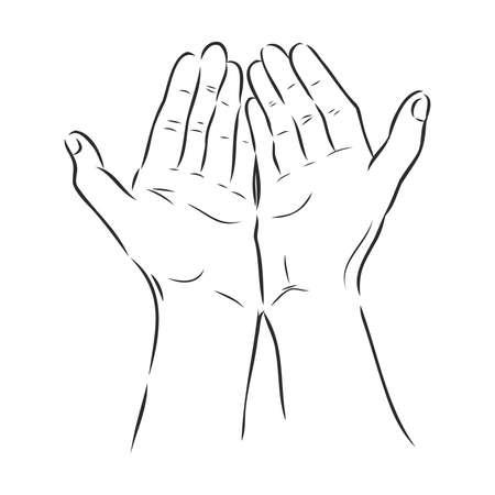 Sketch hand begging hands. Vector line illustration