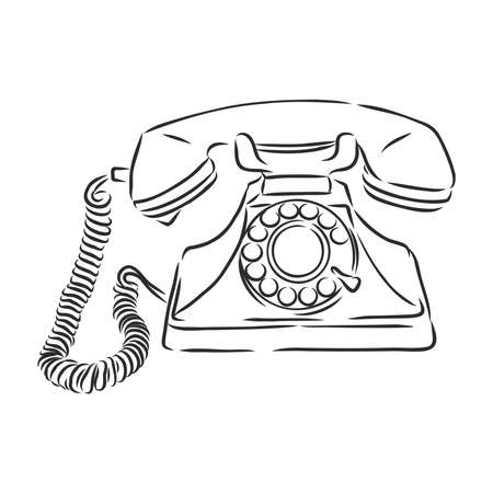 Line drawing of a vintage phone. Vector illustration. Isolated object.