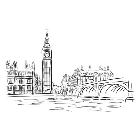 Popular view of busy Parliament Square with Big Ben and double decker bus in front and the London eye behind. Sketch isolated on white background. EPS10 vector illustration.