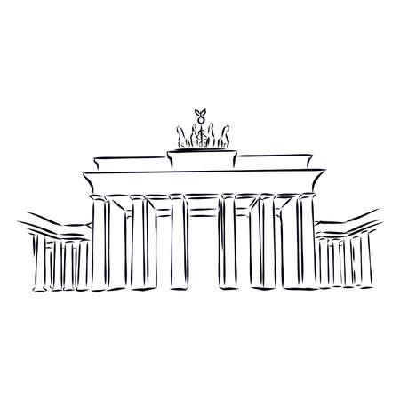 The Brandenburg gate in Berlin. Hand drawn sketch illustration isolated on white background Vector Illustration