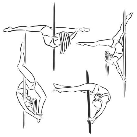 Beautiful girl , pole dance , dancer , sketch, vector on a white background