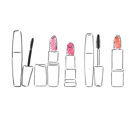Fashion cosmetics . Beauty cosmetics make up set. Hand drawn make up design elements. Fashion make up illustrations. , lipstick, eyelashes, mascara. Vector.
