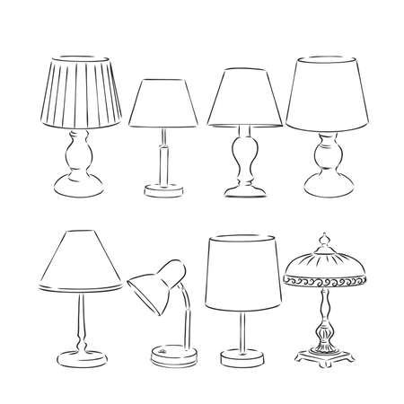 Set of sketched table lamps with lampshades. Vector illustration. Set of isolated black contoured objects on white background. Banque d'images - 145036053