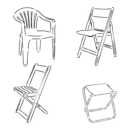 Set of folding chairs on a white background isolation. Vector illustration in a sketch style.